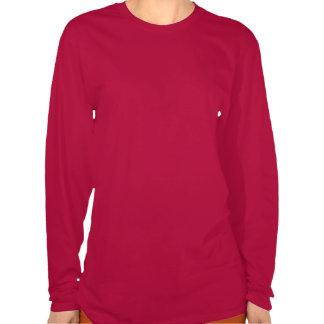 La manga larga T de color rojo oscuro de las mujer Camisas