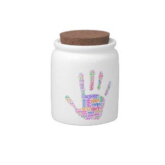 la mano arco iris jarra para caramelo