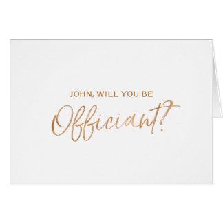 La mano de cobre puesta letras usted será mi tarjeta de felicitación