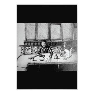 La mano de la escena de la barra dibujada invita invitación 12,7 x 17,8 cm