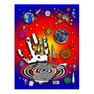 La mano de la humanidad en postal del espacio II