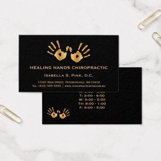 La mano de oro imprime al Chiropractor de las Tarjeta De Negocios