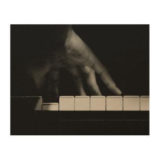 La mano del pianista impresión en madera