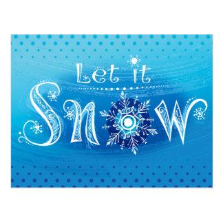 La mano puesta letras lo dejó nevar postal azul