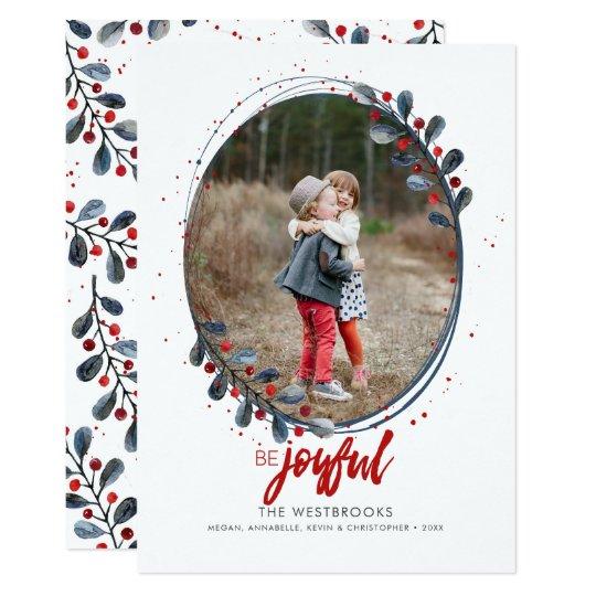 La mano puesta letras sea foto alegre del día de invitación 12,7 x 17,8 cm