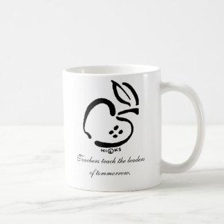 La manzana blanco y negro, profesores enseña al taza de café