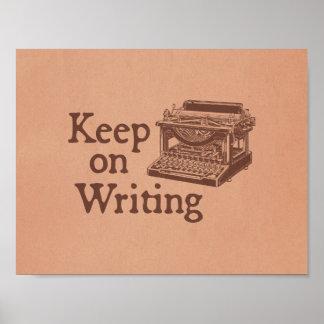 La máquina de escribir del vintage de Brown guarda Póster