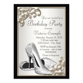 La marfil de la mujer y fiesta de cumpleaños negra invitación 16,5 x 22,2 cm