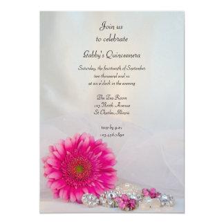 La margarita y el fiesta rosados de Quinceañera de Invitaciones Personalizada