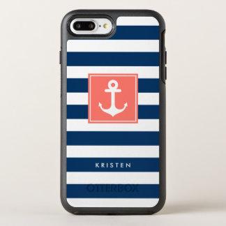 La marina de guerra moderna del ancla náutica raya funda OtterBox symmetry para iPhone 7 plus