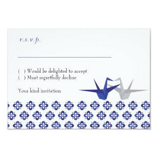 La marina de guerra/Origami de plata Cranes casar Invitación 8,9 X 12,7 Cm