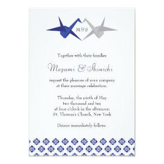 La marina de guerra/Origami de plata Cranes el Invitación 12,7 X 17,8 Cm