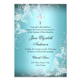 La mariposa azul bonita del remolino y el bautismo invitación 12,7 x 17,8 cm