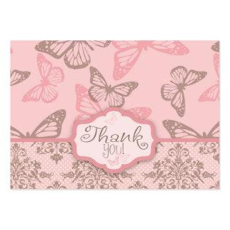 La mariposa besa la etiqueta del regalo del pétalo tarjetas de visita grandes