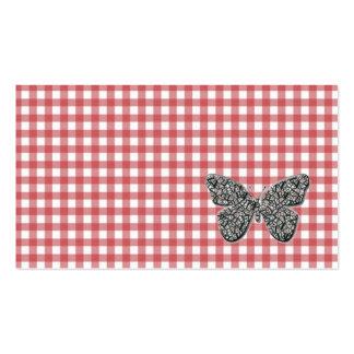 La mariposa elegante en la guinga roja felicita ta tarjeta de visita
