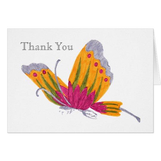 La mariposa le agradece cardar tarjeta pequeña