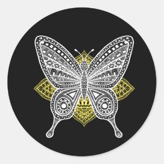 La mariposa pegatina redonda