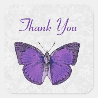 La mariposa púrpura y de plata del vintage le pegatina cuadrada