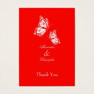 La mariposa roja simple le agradece marcar con tarjeta de negocios