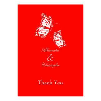 La mariposa roja simple le agradece marcar con tarjetas de visita grandes
