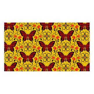 La mariposa roja y amarilla circunda el modelo tarjetas de visita