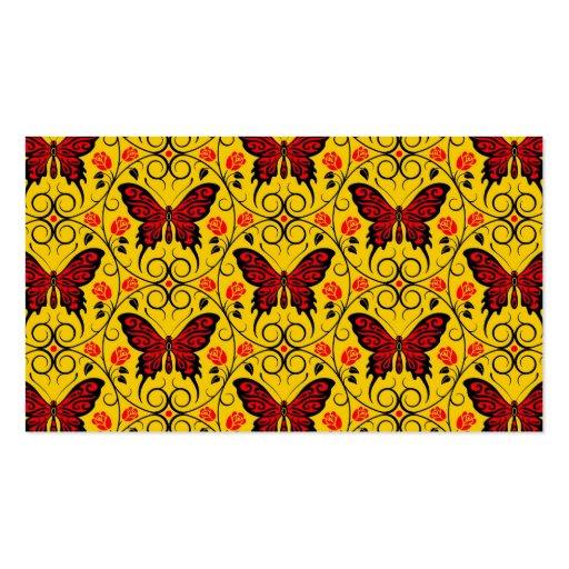 La mariposa roja y amarilla circunda el modelo tarjetas personales