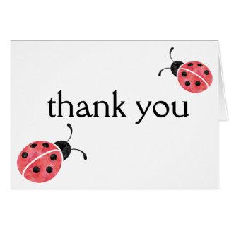 La mariquita de la acuarela le agradece las tarjeta pequeña