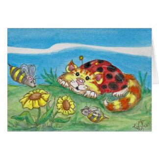 La mariquita del gato de CatABug manosea arte de Tarjeta Pequeña