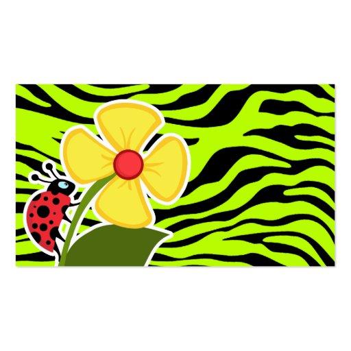 La mariquita en cebra chartreuse raya el estampado tarjeta de visita