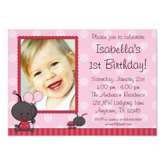 La mariquita hincha a la fiesta de cumpleaños de invitación 12,7 x 17,8 cm