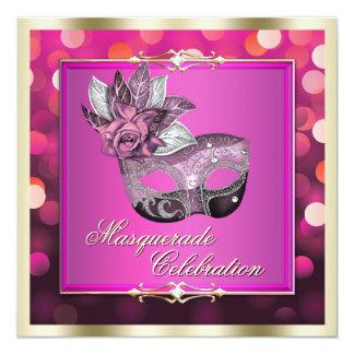 La mascarada brillante rosada de Bokeh de las Invitación 13,3 Cm X 13,3cm