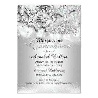 La mascarada de plata Quinceanera de la chispa Invitación 12,7 X 17,8 Cm