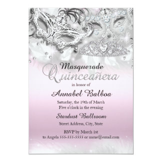 La mascarada de plata rosada Quinceanera de la Invitación 12,7 X 17,8 Cm