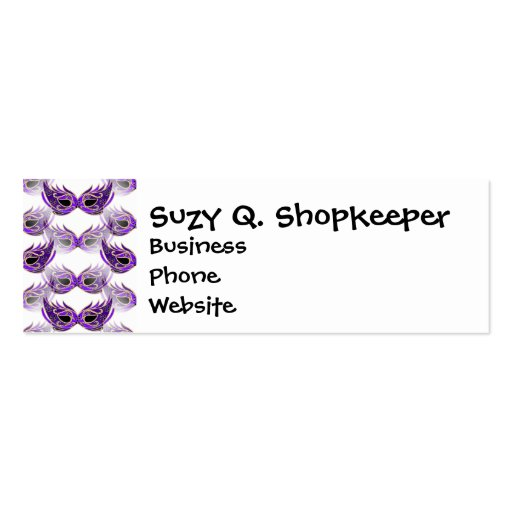 La mascarada púrpura bonita enmascara carnaval plantilla de tarjeta de negocio