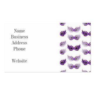 La mascarada púrpura bonita enmascara carnaval tarjetas de visita