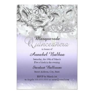 La mascarada púrpura Quinceanera de la chispa Invitación 12,7 X 17,8 Cm