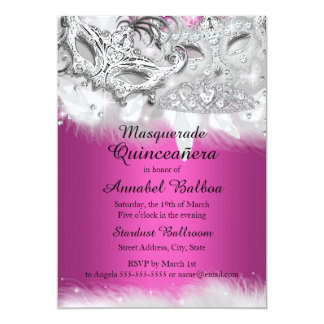 La mascarada Quinceanera de la chispa de las rosas Invitación 12,7 X 17,8 Cm