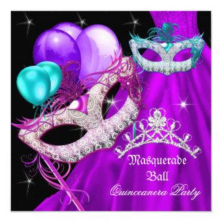 La mascarada Quinceanera enmascara el vestido Invitación 13,3 Cm X 13,3cm