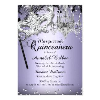 La mascarada Quinceanera púrpura de la lámpara Invitación 12,7 X 17,8 Cm