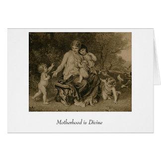 La maternidad es divina tarjeta de felicitación