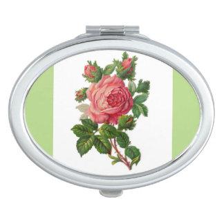 La mayoría del rosa hermoso del vintage subió espejos compactos