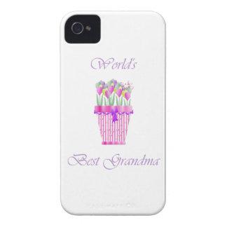 la mejor abuela del mundo (flores rosadas) iPhone 4 Case-Mate protectores