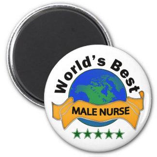 La mejor enfermera de sexo masculino del mundo imán redondo 5 cm