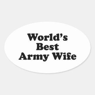 La mejor esposa del ejército del mundo pegatina ovalada