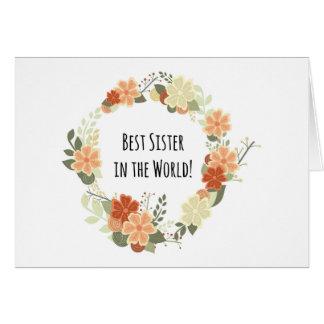 La mejor hermana en la tarjeta del mundo