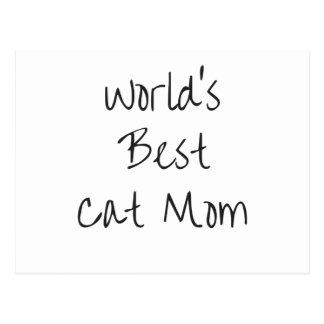 La mejor mamá del gato del mundo - negro postal