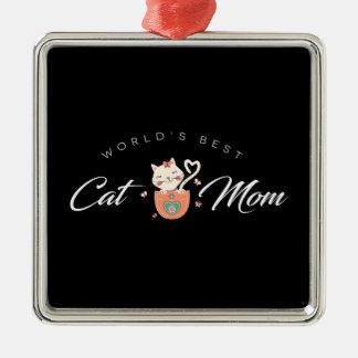 La mejor mamá del gato del mundo para las madres adorno navideño cuadrado de metal