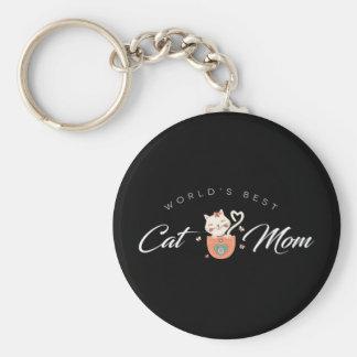 La mejor mamá del gato del mundo para las madres llavero redondo tipo chapa