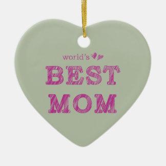 La mejor mamá del mundo adorno navideño de cerámica en forma de corazón