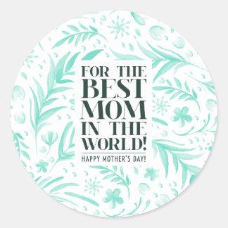 La mejor mamá en el sello del pegatina del día de